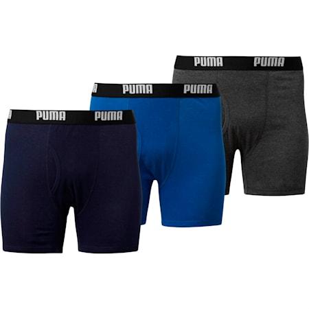 Men's Cotton Classic Boxer Briefs [3 Pack], BLUE / GREY, small